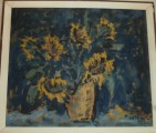 Květiny ve váze - olej na kartonu