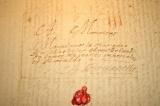 Starý dopis r. 1773, s pečetí