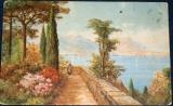Rozkvetlá zahrada na břehu jezera 1917