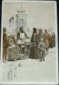 Vánoční přání - prodej kaprů, ilustrovaná, 1930