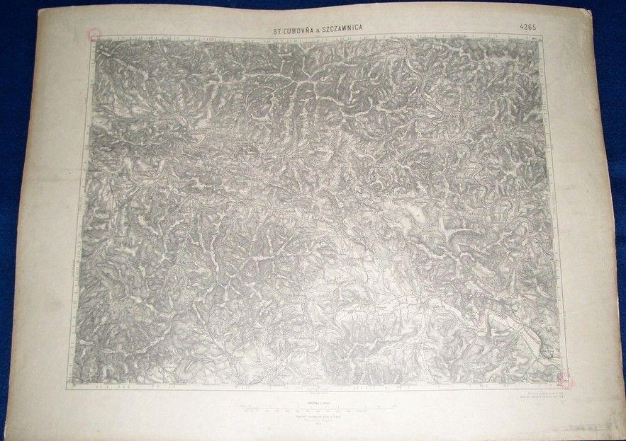 vojenská mapa St. Lubovňa a Szczawnica 1929 (Vojenský zeměpisný ústav)