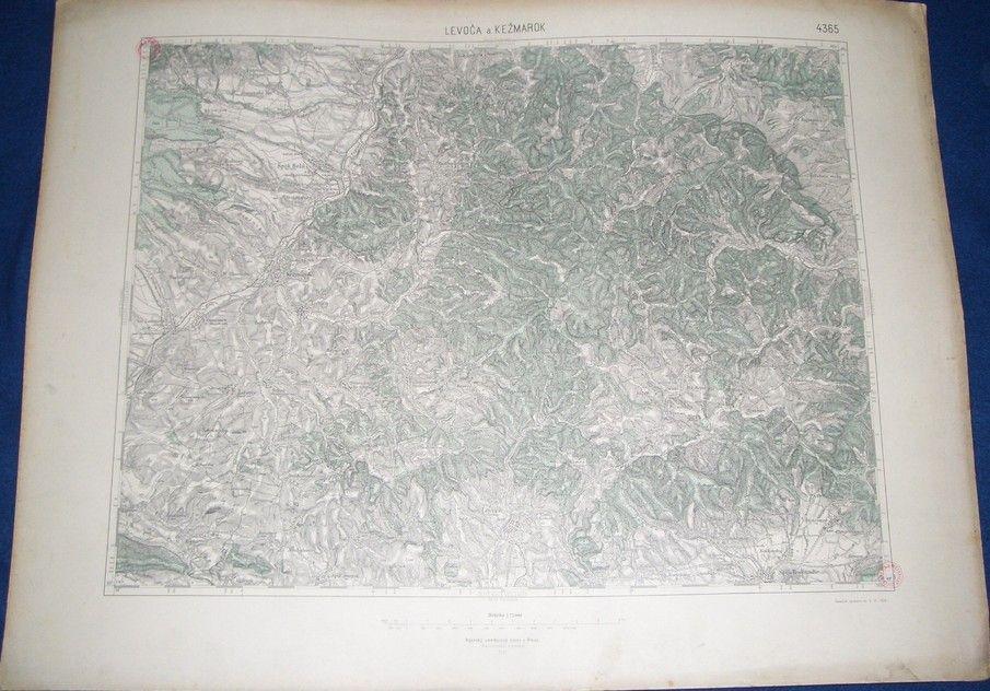 vojenská mapa Levoča a Kežmarok 1930 v barvě (Vojenský zeměpisný ústav)