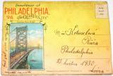 Philadelphia, USA, 1930 - rozkládací pohlednice