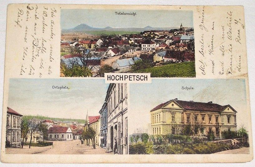 Bečov (Hochpetsch): celkový pohled, náměstí, škola 1925