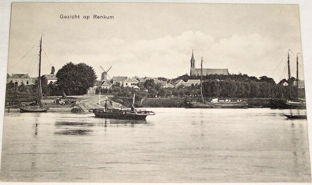 Holandsko (Netherlands): Renkum (pohled přes Rýn, lodě) cca 1920
