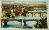 Praha  celkový pohled na mosty