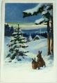 Vánoční: Zasněžená krajina se stromkem