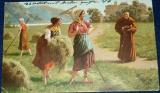Mnich a dívky při senoseči 1904