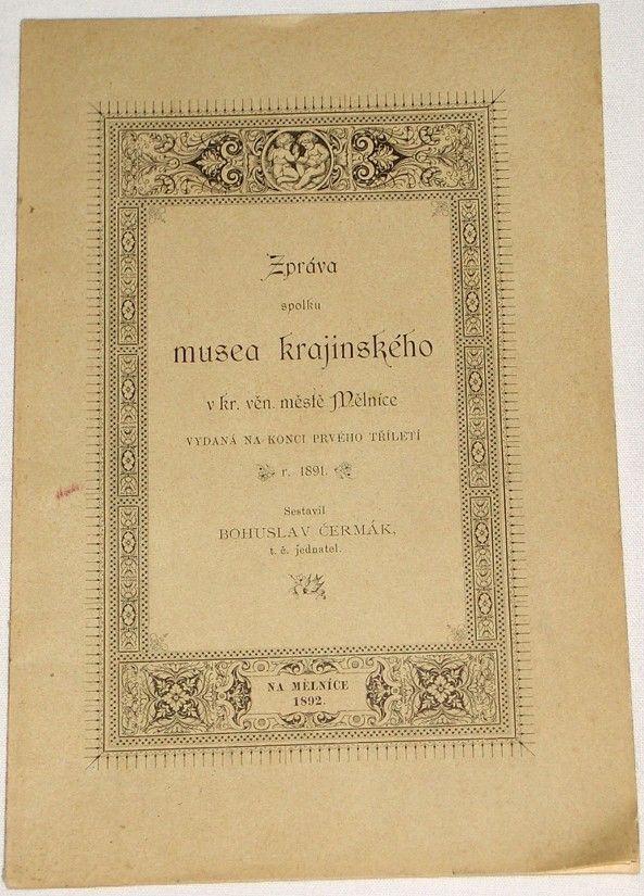 Čermák Bohuslav - Zpráva spolku musea krajinského
