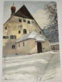 Gotický kostelík v zasněžené krajině (cca 1910)