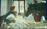 1. sv. válka: voják na lůžku se loučí s koněm (1917)