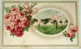 Srdečné blahopřání: tlačené květiny a reliéf (cca1910)