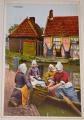 kopie Holandsko:  Volendam  dobový život u vodního kanálu (cca 1910)