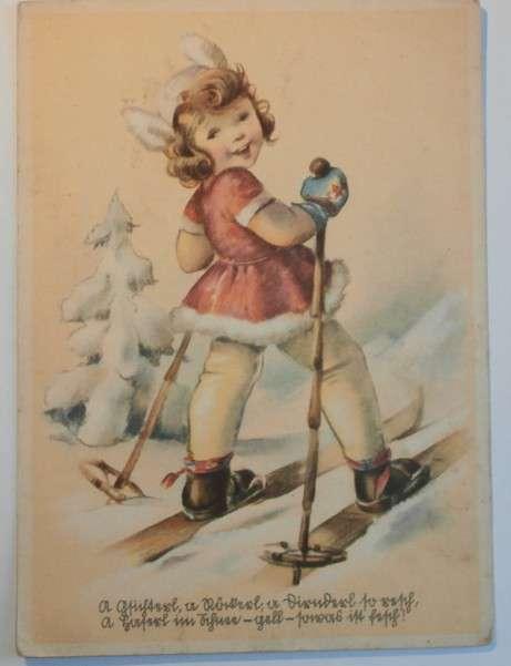 Holčička na lyžích , německá, cca 1940
