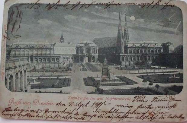 Gruss aus Dresden - Zwingergarten mit Sophienkirche