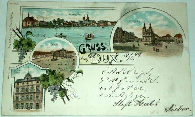 Gruss aus Dux 1899 litografie